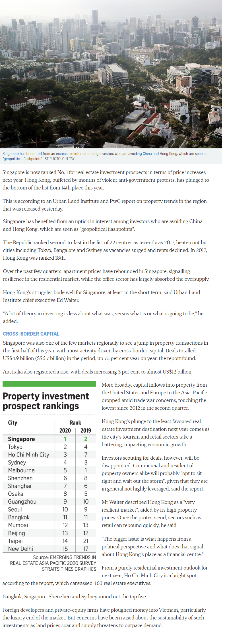 The Lumos - Singapore Tops Region For Property Investment Prospects