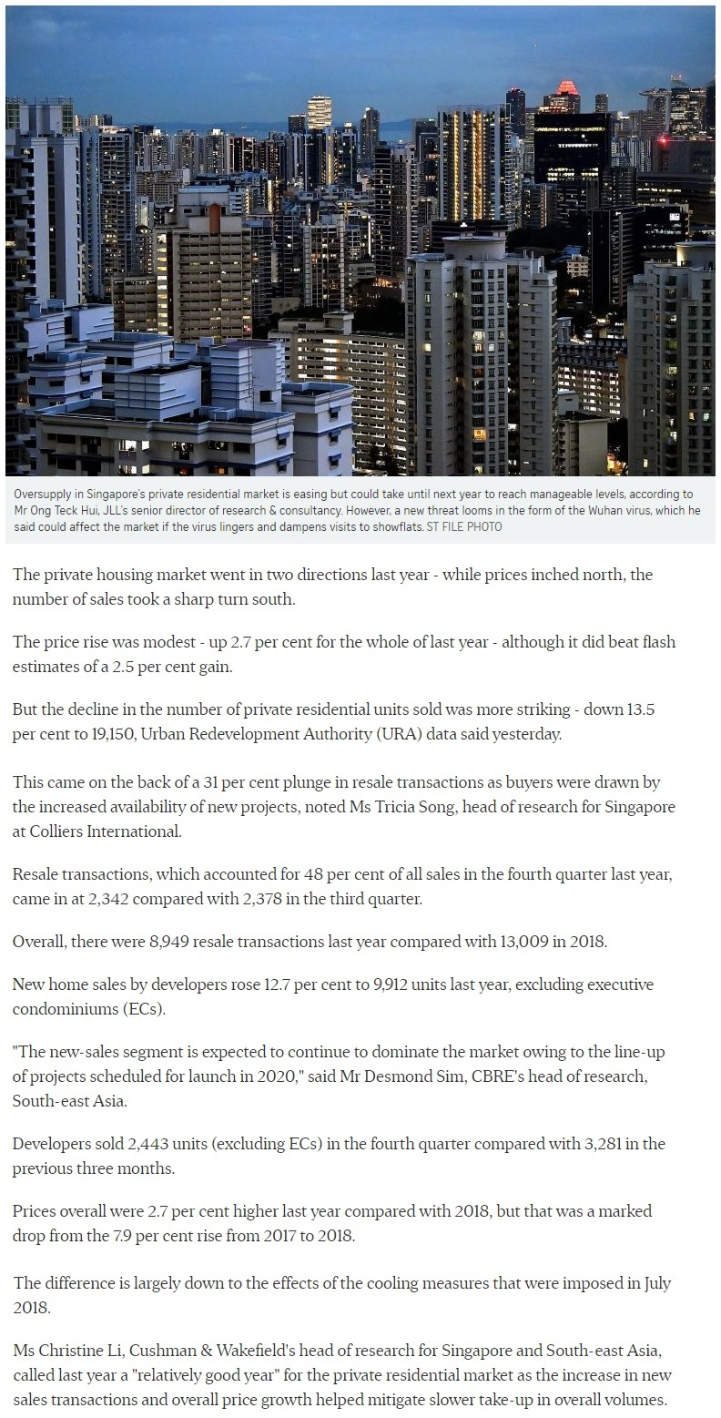 The Lumos - Singapore private home prices inch up 2.7% for 2019 Part 1